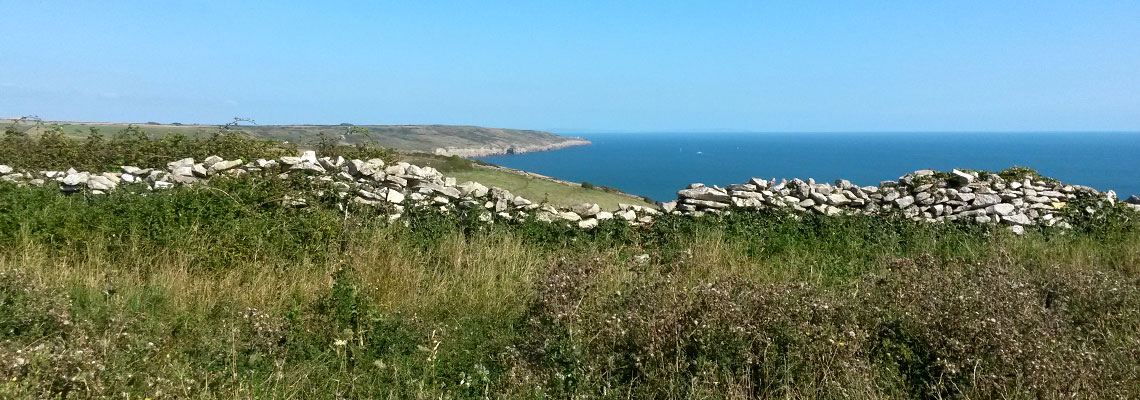 Jurassic Coast Camping site overlooking Swanage Bay, Dorset