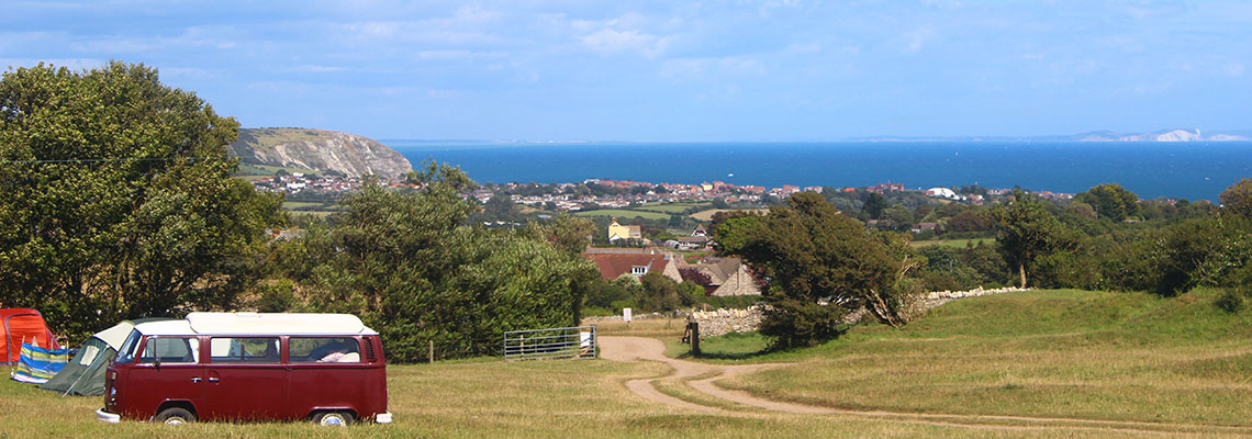 Isle of Purbeck camping Site with lovely views over Swanage, Dorset